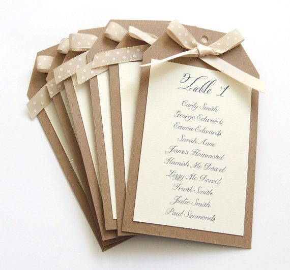 Rustic Polka Dot Tag Wedding Table Plan Seating by STNstationery, £20.00