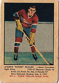 Maurice Richard card Montreal Canadiens Go Habs Go !!