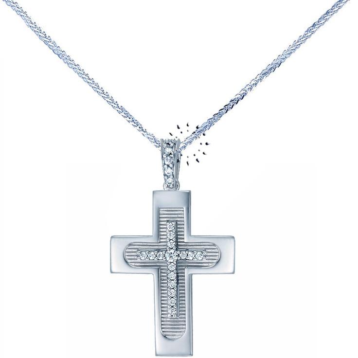 Σταυρός 14Κ Λευκόχρυσο με Ζιρκόν της FaCaDoro  480€  http://www.kosmima.gr/product_info.php?products_id=15827