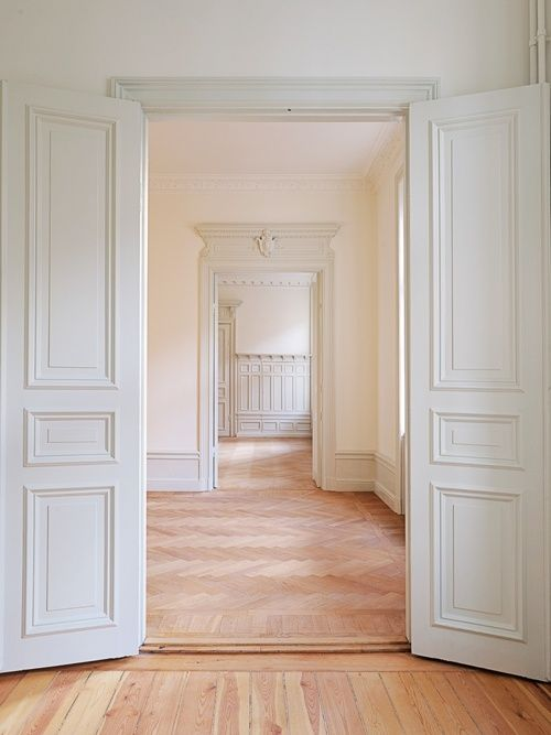 white: Decor, Spaces, The Doors, Dreams, Swedish Interiors, White Doors, Blank Canvas, Wood Floors, House