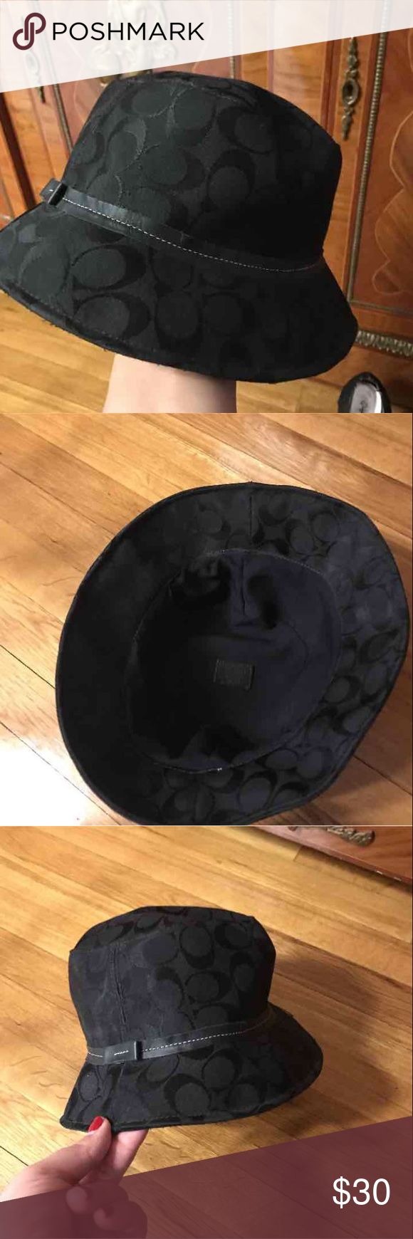 Authentic Coach hat black canvas Received as a gift a few years ago, never worn as I'm not a hat person. Coach Accessories Hats