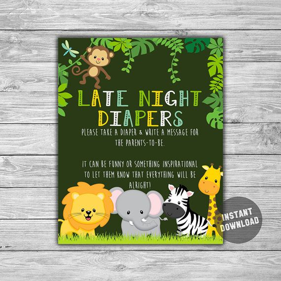 Baby Shower  Jungle  Safari  Late Night Diapers  by TheDigiSloth