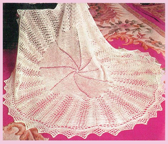 PDF Vintage Baby Christening Shawl Knitting Pattern Blanket