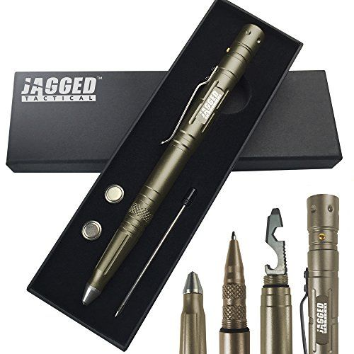 From Jagged Tactical  The ultimate multi-tool / survival tool. Its a tactical pen with an LED flashlight pen