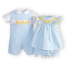 GORGEOUS clothes from woodensoldier.com    great idea to find a stripe or plaid that's neutral then make matching dresses for girls and romper or shorts for boys