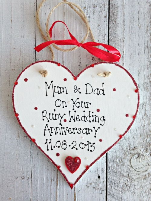 Sparkly Ruby Wedding Anniversary Personalised Keepsake Gift, £13.00