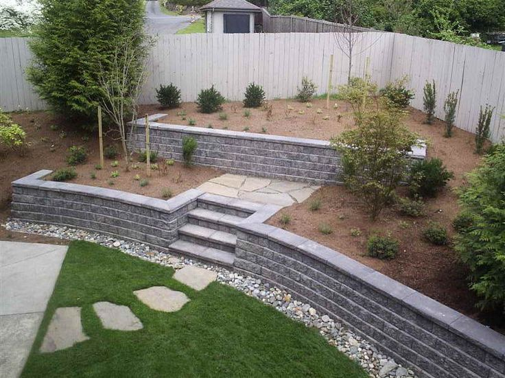 Walls:Cinder Block Retaining Wall With Green Grass Cinder Block Retaining Wall