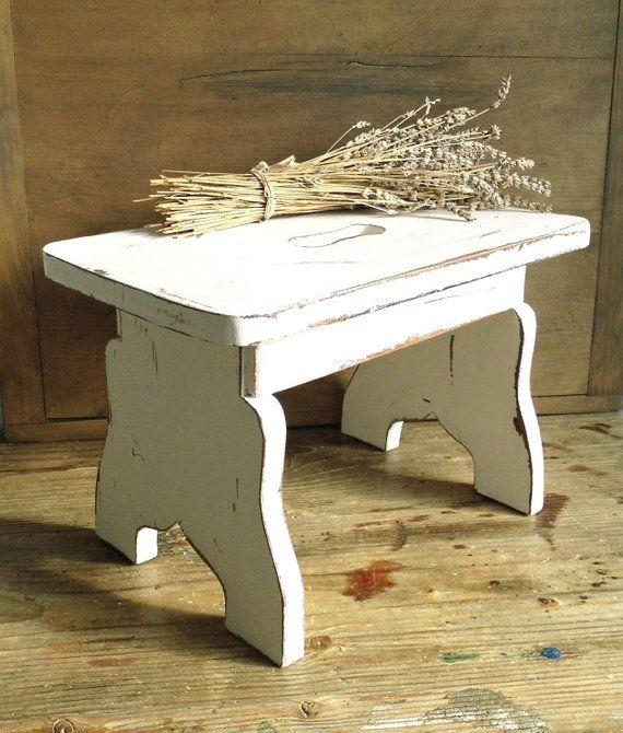 Strange Primitive White Wood Step Stool Milking Stool Foot Stool Short Links Chair Design For Home Short Linksinfo