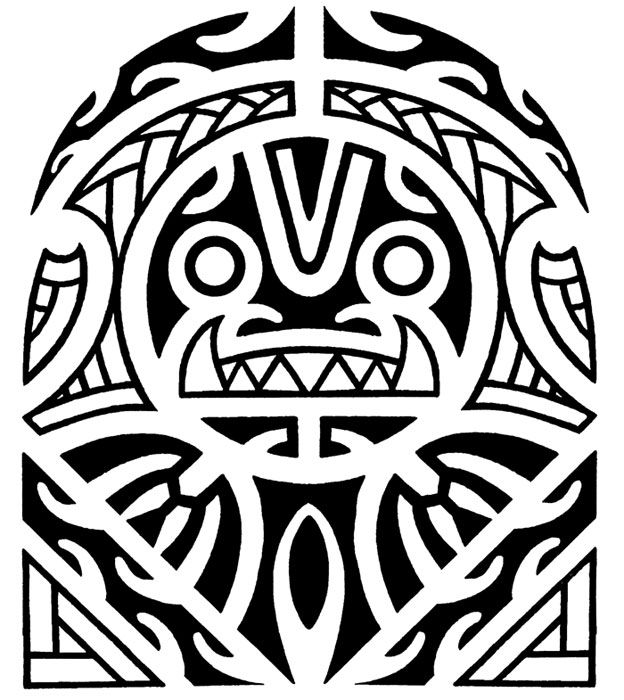 Maori and Polynesian tiki half sleeve tattoo