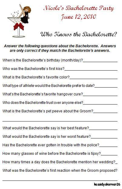 Personalized Who Knows The Bachelorette Party Game by momof2girlz, $4.50