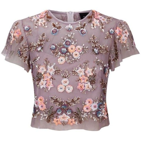 Needle & Thread Ditsy Scatter Flower Top (£150) ❤ liked on Polyvore featuring tops, shirts, blouses, blusas, crop top, ruffle sleeve top, long-sleeve crop tops, purple crop top, embellished crop top and flutter sleeve top