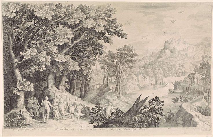 Nicolaes de Bruyn | Oordeel van Paris, Nicolaes de Bruyn, Pieter Schenk (I), 1600 | Een landschap met op de voorgrond links het oordeel van Paris. Mercurius heeft Paris naar de goden gebracht om een schoonheidswedstrijd tussen godinnen te beslechten. Hij moet kiezen wie het mooiste is: Juno (met als attribuut de pauw), Minerva (in wapenrusting) of Venus (met naast haar Cupido). Paris kiest voor Venus en overhandigt haar als prijs een gouden appel. Op de achtergrond een dorp naar een rivier.