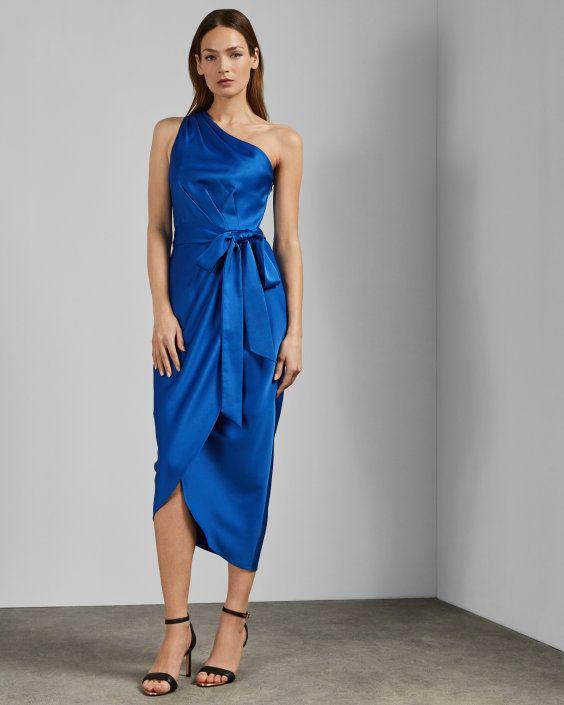 e7c6381799 One shoulder drape midi dress - Blue   Dresses   Ted Baker ROW ...