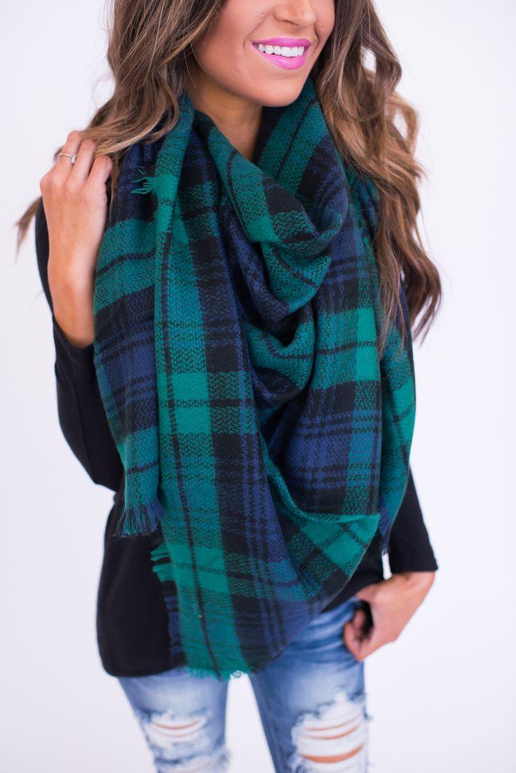 Plaid Blanket Scarf- Green/Blue - Dottie Couture Boutique