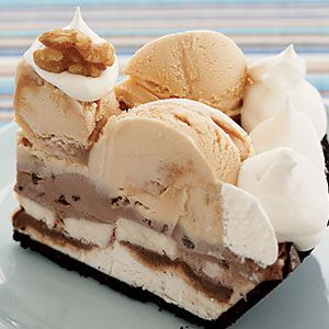 Banana Split Pie - frozen pie that layers three flavors of ice cream, fudge sauce, sliced bananas and whipped topping in a chocolate cookie crust.