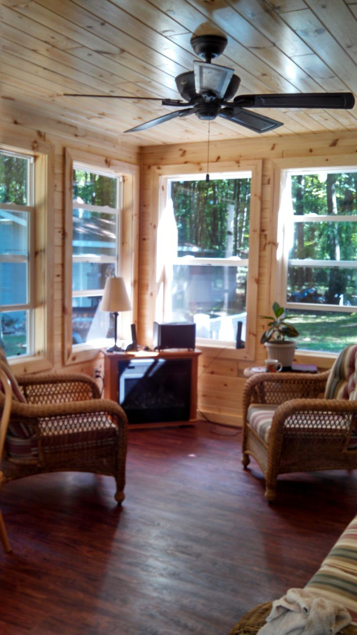 knotty pine sunroom