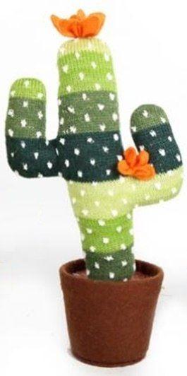 Cactus gebreid Stripey Greens met oranje bloem