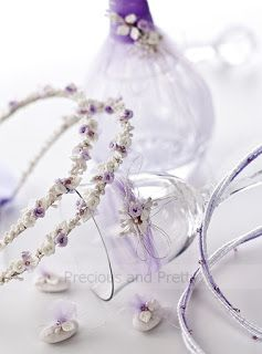 Floral wedding crowns stefana lilac and white color, with matching wine glass and decanter