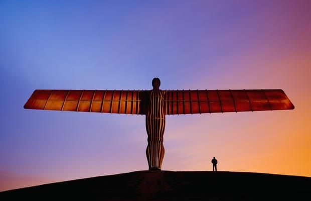 The Angel of the North by Anthony Gormley stands 20m high on the site of an old colliery in Gateshead, England, paying tribute to the industrial heritage of the North East, telegraph.co.uk North East England is the best place ever ;)