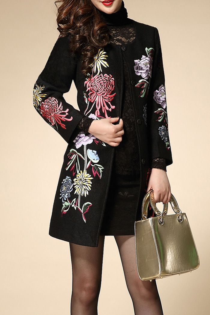 Wordyige Black Flower Embroidered Button Fly Coat | Coats at DEZZAL