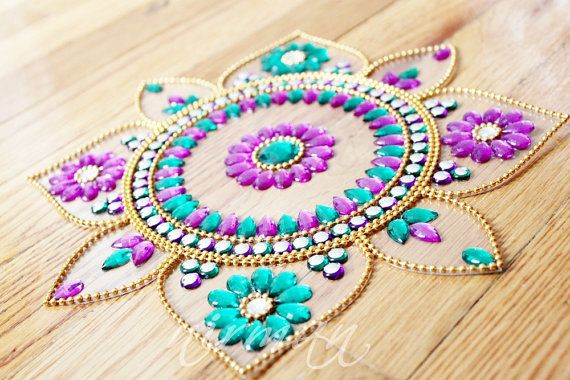 Sunflower Rangoli, Rhinestone Wedding table decor, Diwali decor - Purple