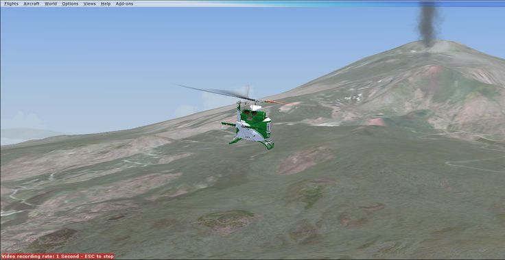 AB412 of Guardia Forestale (Italian Forest Police) over Etna Volcan in Sicily