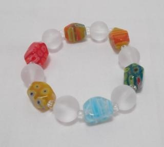 Millefiori and Sea Glass Chunky Stretch Bracelet