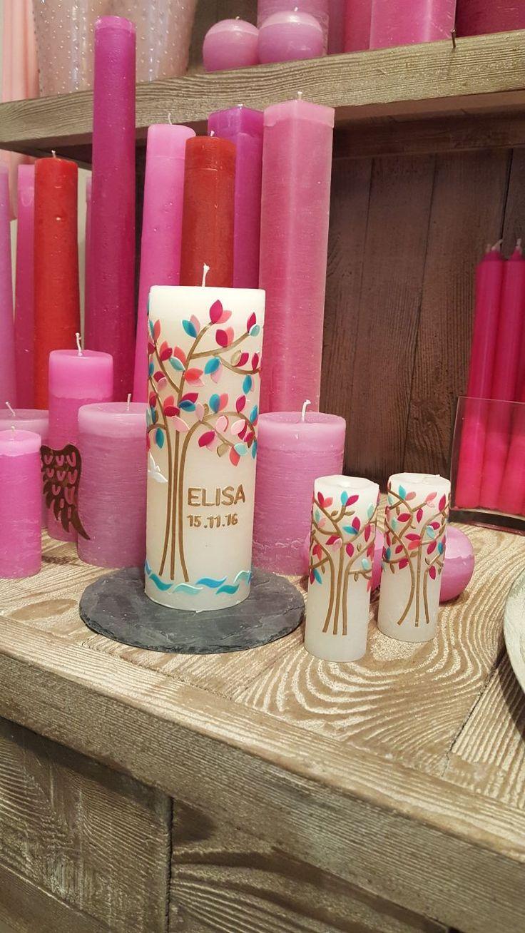 Taufkerzen- Lebensbaum- Jungen & Mädchen- Handgemachte- Selbst gegossen und handverziert – Unikate- Hochwertig-  Kerzen-Kerzenmanufaktur – Der Kerzen…