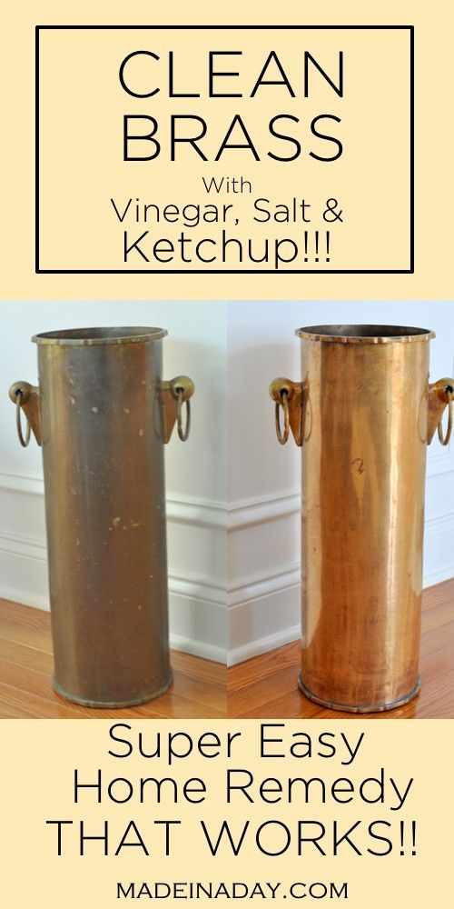 Super easy way to clean brass with out going to the store! Salt, vinegar and ketchup to clean brass, home remedies to clean brass via @madeinaday