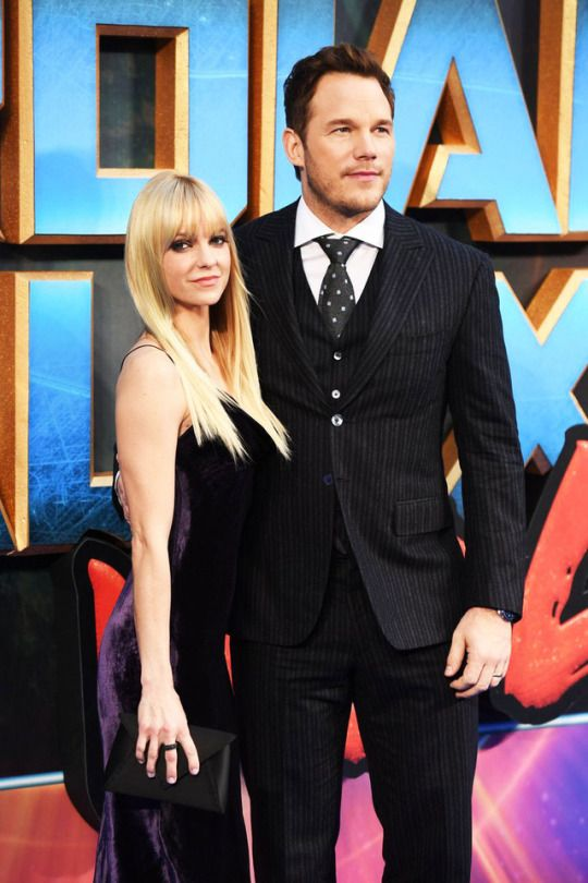Anna Faris and Chris Pratt attend the European Gala screening of 'Guardians of the Galaxy Vol. 2' at Eventim Apollo on April 24, 2017 in London, United Kingdom.