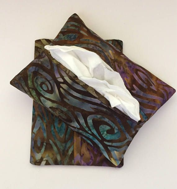 Batik Swirl Fabric Purse Tissue Holders, Handmade, Kleenex Holders, Tissue Cover, gift under 10, Purse Accessory, Tissue Case
