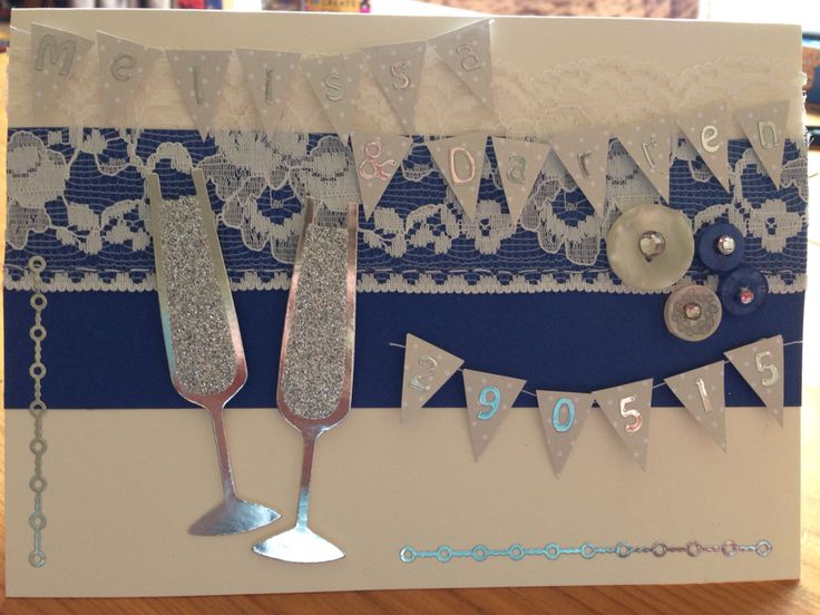 Personalised wedding card with names of bride & groom and wedding date. Buttons, lace and coordinating with colour scheme