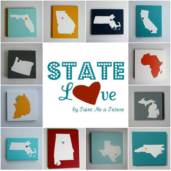 Contact paper of our state pressed down on a canvas we painted all white.  Painted over canvas with state adherred the color or colors of our choice then peeled up and finished with a heart or star on the city we lived in.  Mod podged over entire thing.Wall Art, States Painting, Art Crafts, Canvas Heart, Diy Crafts, Gift Ideas, Home Art, Painting Wall, Gallery Wall