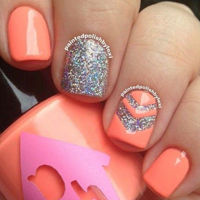 glitter coral nail art