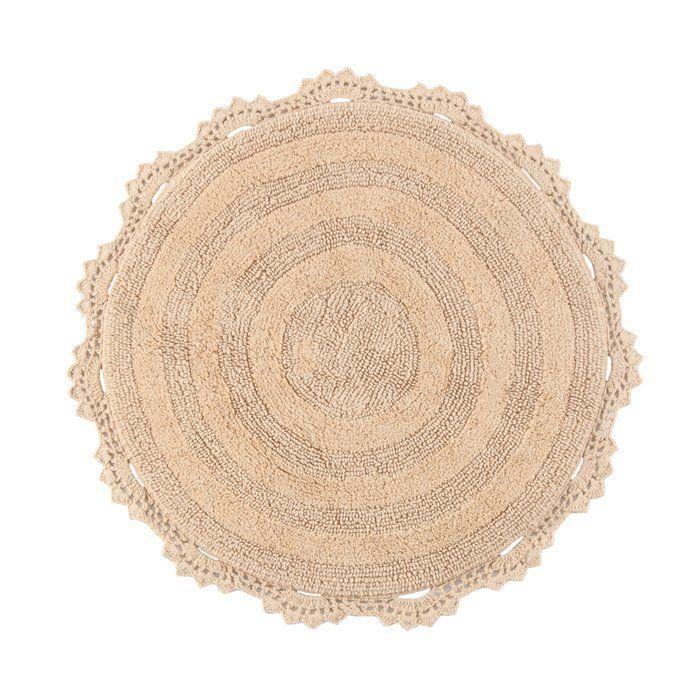 Gottschalk Crochet Border Tufted Circle 100 Cotton Reversible Bath Rug Colorful Rugs Reversible Bath Rugs Bath Rugs