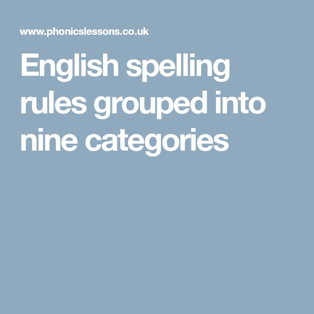 English spelling rules grouped into nine categories