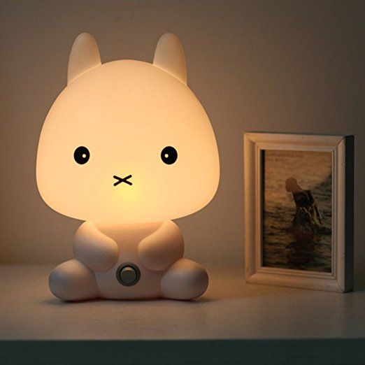 Coffled Baby Kids Bedroom LED Rabbit Night Light Bunny Cartoon Animal Desk Table Lamp Gift
