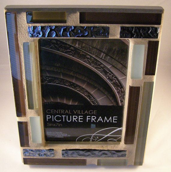 Brown Green Black Glass Photo Frame  5 x 7 by breakitupdesigns