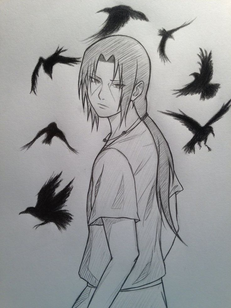 The crows look like they don't belong there somehow, I made them look too wallpaperish. Itachi Uchiha © Masashi Kishimoto