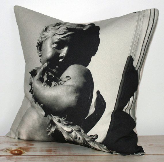 Decorative Pillow with black & white print inspired by Paris and Pont Alexandre III, Paris.