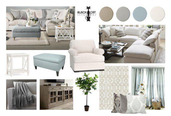 Coastal living room online interior design moodboard in - Design living room online ...