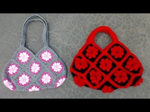 Granny Square Bag Crochet Tutorial Part 1 of 3 - Joining the Granny Squares - YouTube