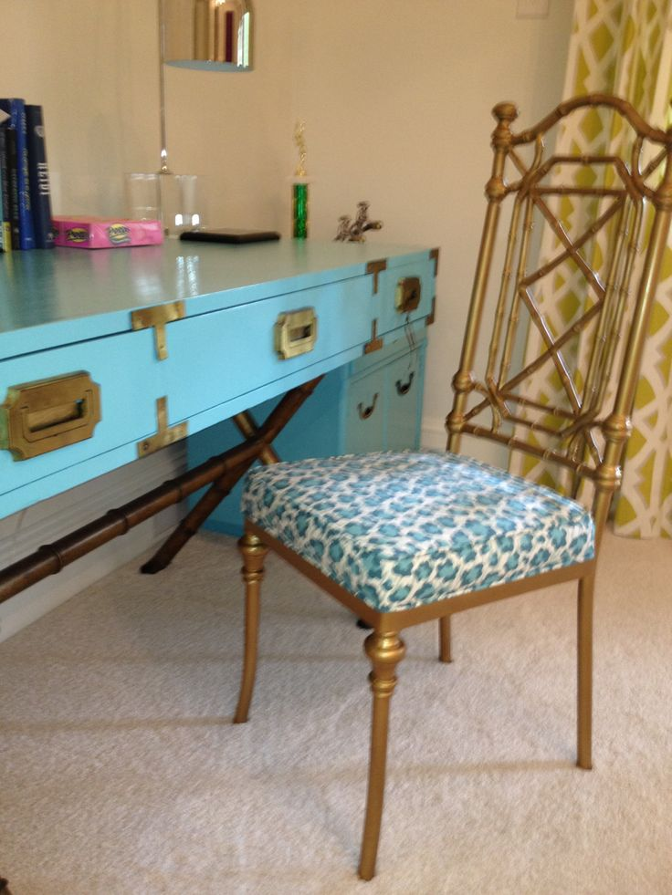 Vintage campaign desk and bamboo metal desk chair just finished restoring at Parker Kennedy Living! Fabulous !!