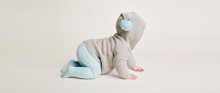 Knitted Jacket with Hood in Mouse Grey