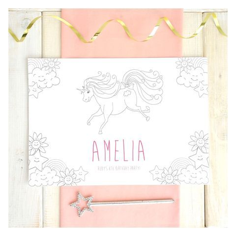 Children's Personalised Pony Colour Me Place Mat