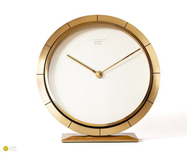 60s Junghans Meister Bauhaus Desk Clock Art Deco Mid Century Modern Table Atomic Brass Germany 50s Mantel Desk Clock Clock Vintage Desk