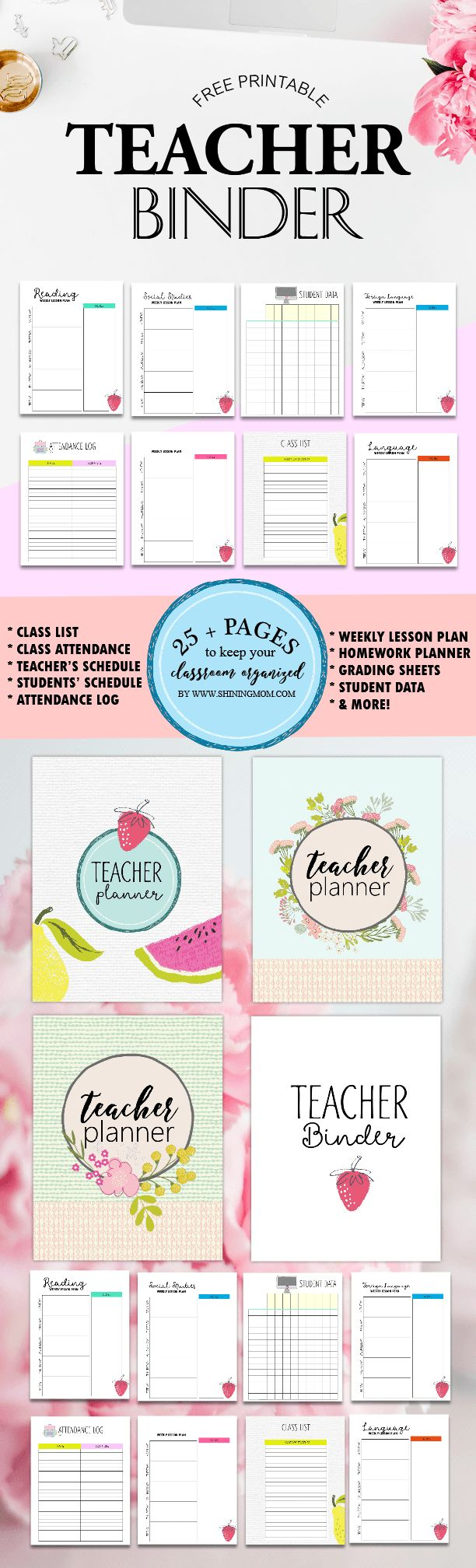 These are so cute! Free Teacher Binder Printables: Over 25 Pretty Planning Templates!