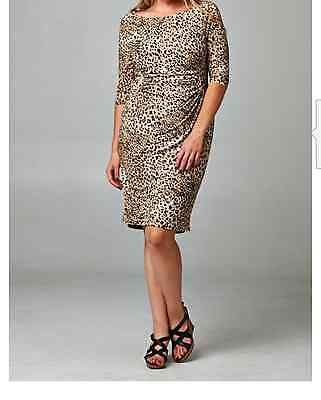Plus Size Leopard Print 3/4 Sleeve Stretch Dress Gift party 3x
