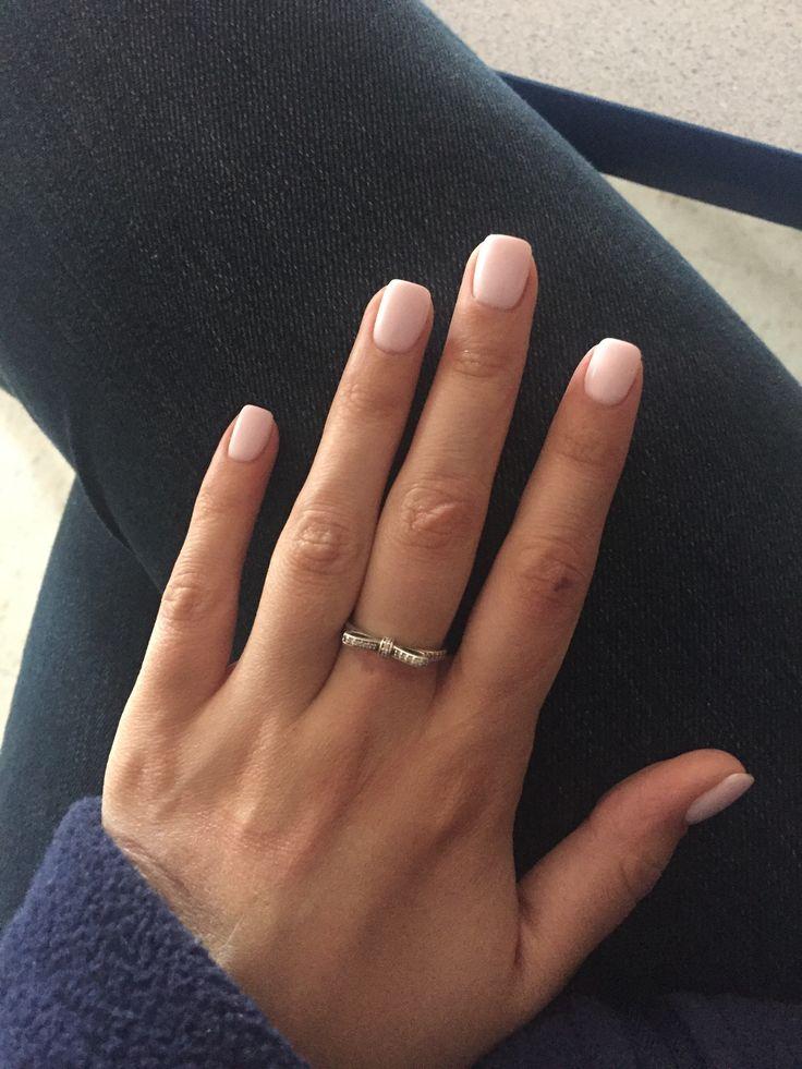 Short pink square acrylic nails