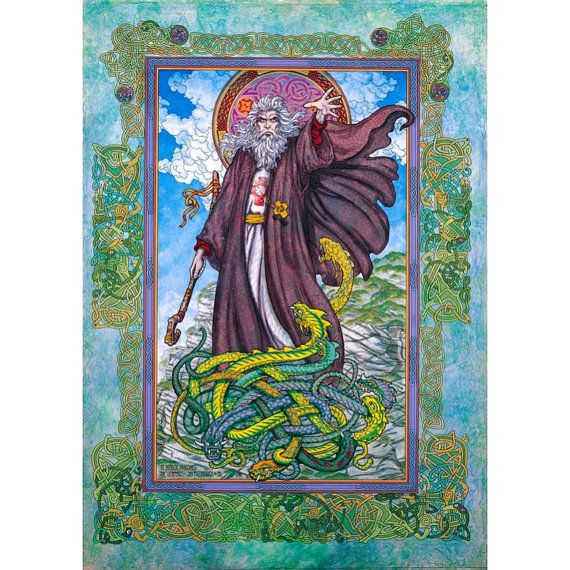 """St. Patrick's Day Irish Art Print 8x11""""of the real St. Patrick. Made in Ireland. Celtic designs, Green snakes, blue skys.. $25.00, via Etsy."""
